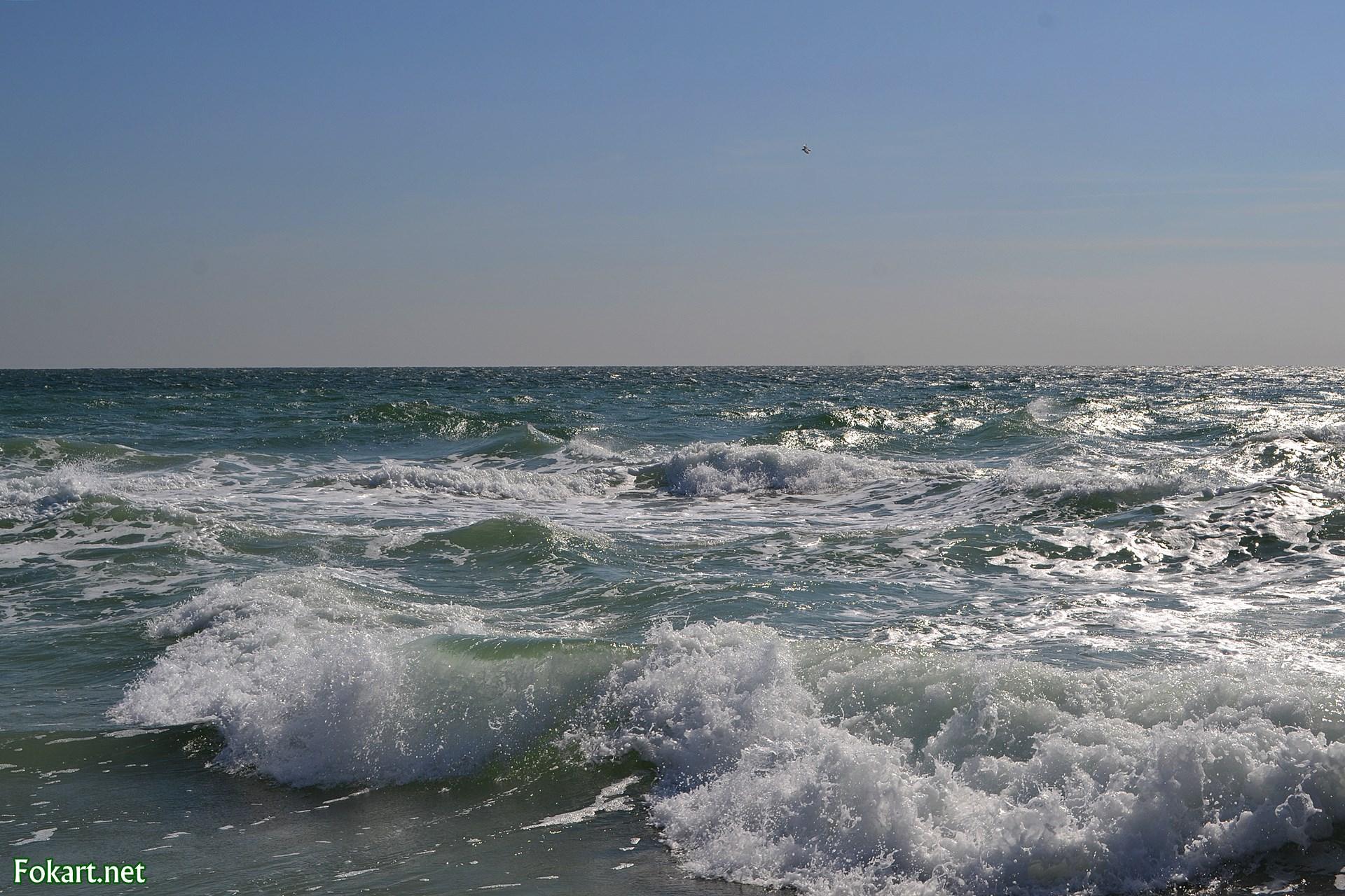 Слегка серебристое от солнечного света море и белые гребешки волн