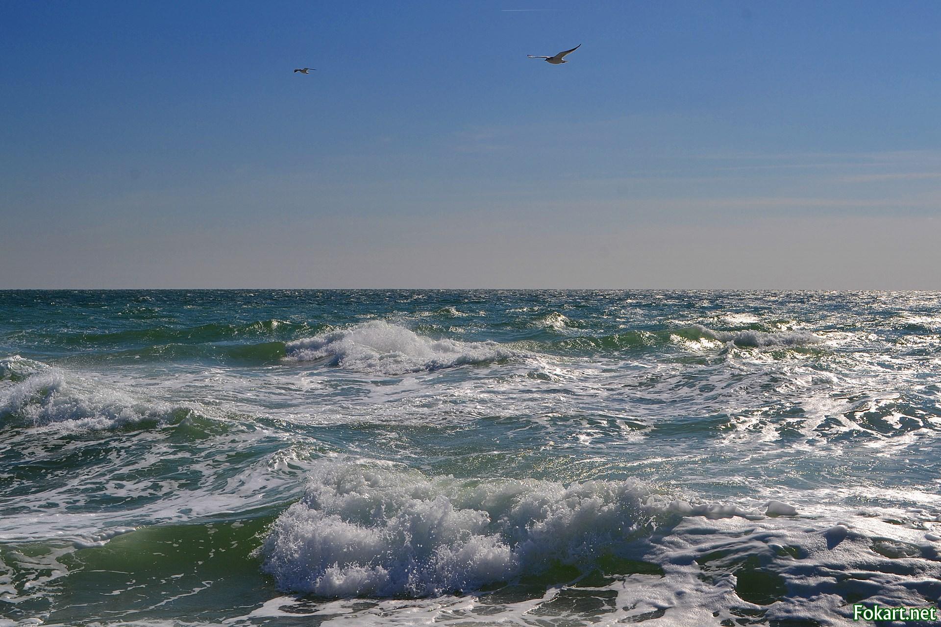 Морской пейзаж в ветреную погоду в конце сентября. Чёрное море