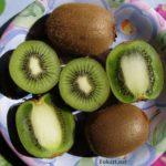 Плоды киви на цветной тарелке, целые и разрезанные