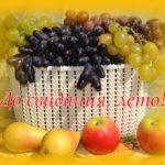 Фото-картинка в последний день лета. Виноград в корзинке, яблоки и груши.