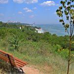 Скамейка над зелёными склонами с видом на море